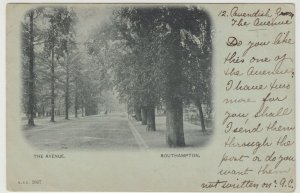 Hampshire; The Avenue, Southampton PPC, 1901 PMK, To Ellie Carr, Wantage