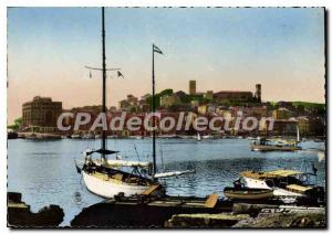Postcard Moderne Menton Cannes Harbor and Mount Knight