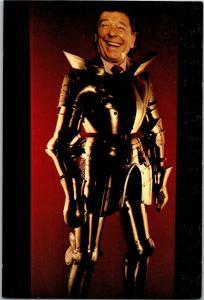 Comic Ronald Reagan in Suit of Armor Bad Photoshop Postcard R09