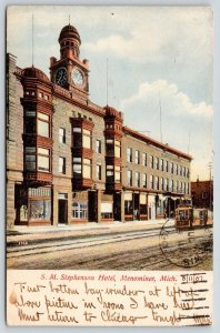 Menominee Michigan~Trolley at SM Stephenson Hotel~Clock~My Rooms Bay Window~1907