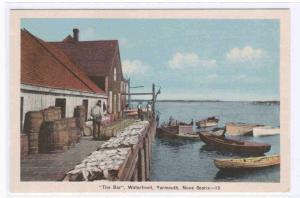 The Bar Waterfront Boats Drying Fish Yarmouth Nova Scotia Canada postcard