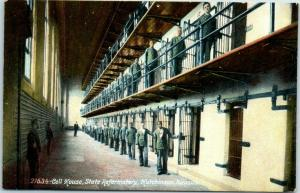 1910s Hutchinson KS Postcard Cell House, State Reformatory Prison / Prisoners