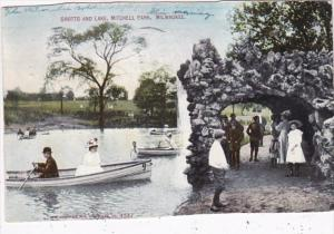 Wisconsin Milwaukee Grotto and Lake In Mitchell Park 1910