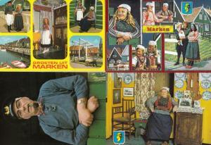 Marken Holland Fat Lady Pipe Smoking Unusual Domestic Scenes 4x Postcard s