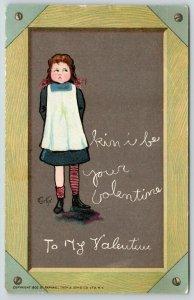 E Curtis Valentine~American Girl~Red Pig Tail Braids~Chalkboard Slate~1902 TUCK