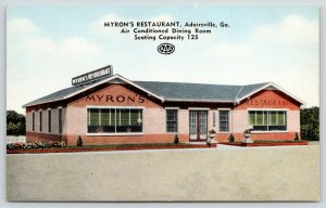 Adairsville Georgia~Myron's Restaurant~Highway 41~Flower Pots in Front~1940s