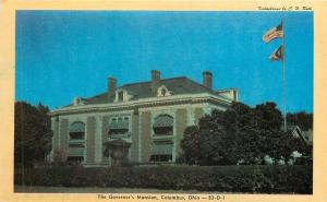 Columbus Ohio~Governor's Mansion at Dusk~US & State Flag~1940s~Postcard