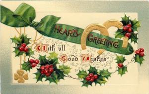 BB London~Christmas~Green Ribbon~Horseshoes~Holly Berry~Art Nouveau~Gold~Emboss