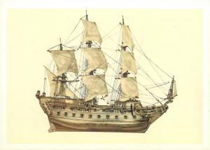 Postcard ship model figure from the middle of the seventeenth century 4