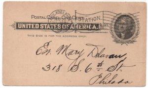 Penny Postcard UX14 1899 Jefferson.  Philadelphia, PA