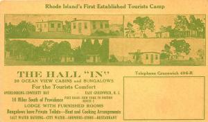 East Greenwich RI The Hall In Tourists Camp Advertising Postcard