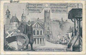 Ansichtskarten Schweiz VINTAGE POSTCARD: SWITZERLAND - GRUSS AUS: FRIBOURG 1906