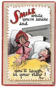 Dwig Artist Signed Tuck Postcard Smile While You're Awake