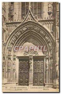 Old Postcard Aix en Provence Cathedrale Saint Sauveur Portal