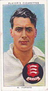Player Vintage Cigarette Card Cricketers 1938 No 8 K Farnes Cambridge Essex &...