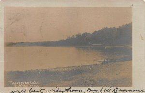Massapoag Lake, Sharon, Mass., Early Real Photo Postcard, Used in 1905