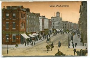 George Street Scene Limerick Ireland 1910c postcard