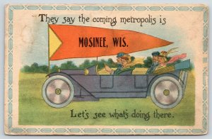 Let's See What's Doing in Mosinee WI~Comin Metropolis~Touring Car~1914 Pennant