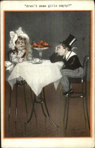 Fred Spurgin - Cute Kids as Adults Dinner - Boy Stresses Over Cost Postcard
