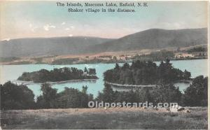 Old Vintage Shaker Post Card The Islands, Mascoma Lake,  Village in a distanc...