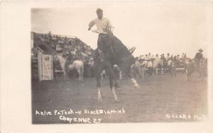 B21/ Rodeo Cowboy Horses Real Photo RPPC Postcard c20s Cheyenne Wyoming 2