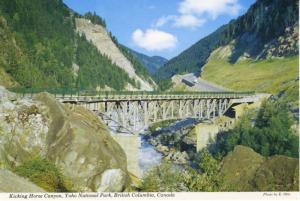 Kicking Horse Canyon Bridge Yoho National Park BC Vintage Postcard D20