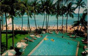 Postcard HI Hawaii Outrigger East Hotel Waikiki Ocean Palm Trees Pool Unposted