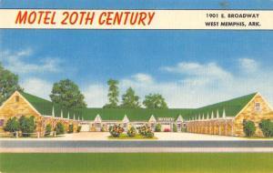motel 20th century west memphis arkansas L4396 antique postcard