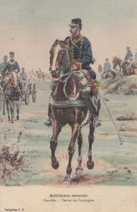 Astillesie Montee Cavalier Tenue De Campagne Soldier French Military Postcard