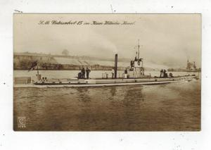 Mint Pre WW2 Germany Navy Real Picture Postcard U Boat 15 Submarine kaiser Wilhe