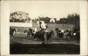 Cowboy Rodeo - Busby Montana Area Written on Back Real Photo Postcard #1