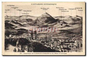 Old Postcard Panorama of Clermont Ferrand and the Monts d'Aurergne