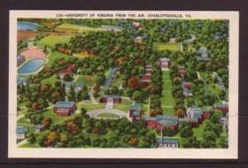 Virginia Post Card Air view University of Va Charlottesvile