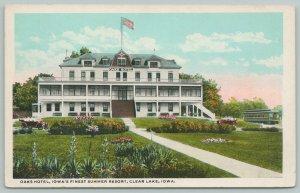 Clear Lake Iowa~Oaks Hotel Summer Resort~Interurban Trolley Arrives~1915 PC