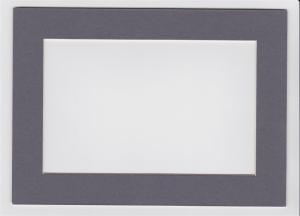Custom Cut Postcard Mat Fits 5x7 Frame DARK GREY / CHARCOAL