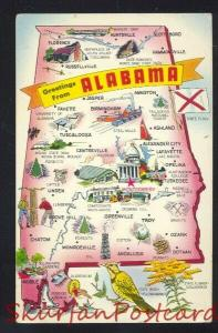 GREETINGS FROM ALABAMA STATE MAP POSTCARD
