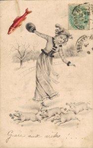 Jugendstil Girl With Piglets Pigs Vintage Postcard 06.32