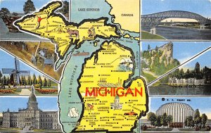 Maps Michigan USA 1952