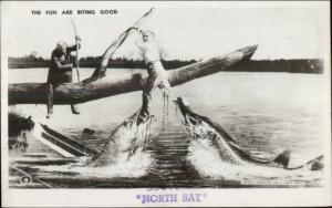 North Bay Ontario Fishing Exaggeration Real Photo Postcard