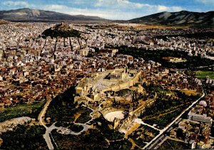 Greece Athens Aerial View Of Center Of Town