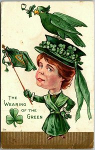 1910s ST. PATRICK'S DAY Postcard Woman w/ Harp Flag THE WEARING OF THE GREEN