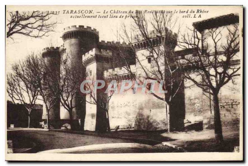 Old Postcard Tarascon Chateau du Roi Rene is on the edge of the Rhone current...