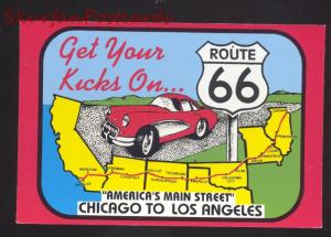 GET YOUR KICKS ON ROUTE 66 CORVETTE US MAP MAIN STREET POSTCARD