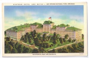 Eastman Hotel and Baths Hot Springs National Park 1937 Linen