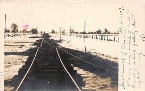 G61/ Gridley California Postcard RPPC 1907 Snow Railroad Disaster Tracks