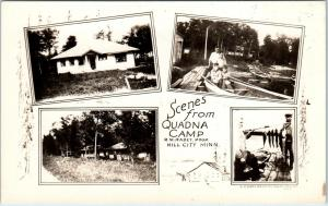 RPPC  HILL CITY, MN Minnesota    QUADNA  CAMP   Multiview   c1930s     Postcard