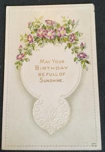 """Postcard Unused """"Birthday"""" Flowers LB"""