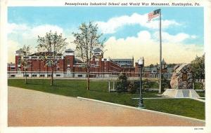 Huntingdon Pennsylvania~Industrial School~World War I Monument~Lamp Post~1932 PC
