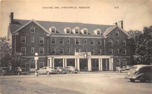 Lyndonville Vermont~Darling Inn~Classic 40s Cars~Lamppost~B&W Postcard
