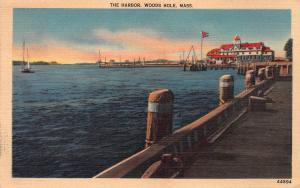 The Harbor, Woods Hole, Massachusetts, Early Linen Postcard, Used in 1949